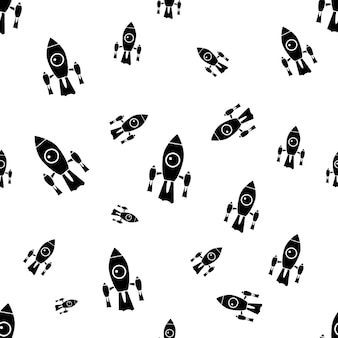 Fundo de espaço para crianças. padrão sem emenda de nave espacial com foguetes de silhueta. papel de parede do vetor das ações isolado.