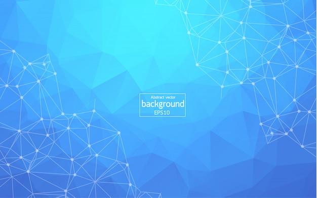 Fundo de espaço poligonal abstrato azul escuro