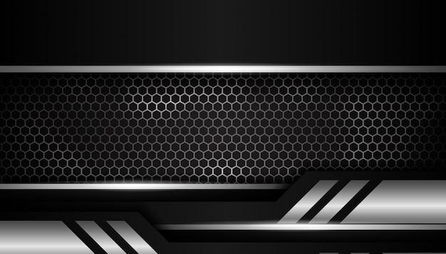 Fundo de esporte de luxo prata hexágono