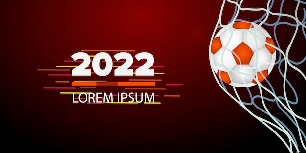 Fundo de esportes preto e laranja com ilustração vetorial realista de bola de futebol e fitas