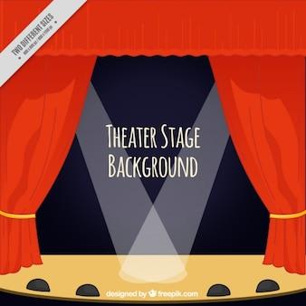 Fundo de estágio do teatro com cortinas e refletores