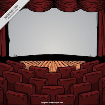 Fundo de estágio do teatro desenhado mão