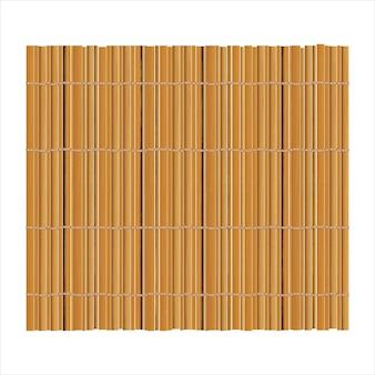 Fundo de esteira de bambu para fazer sushi. vista do topo. textura realista makisu ou cortina.