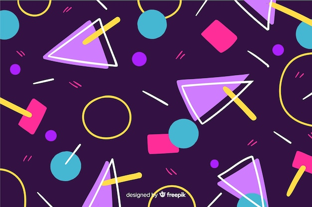 Fundo de estilo 80 com formas geométricas