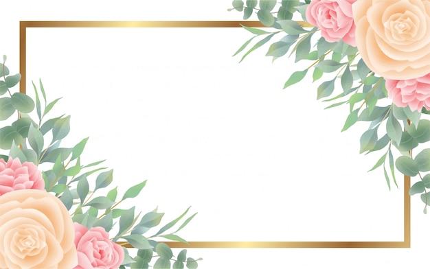 Fundo de estilo aquarela flor e folha e moldura dourada