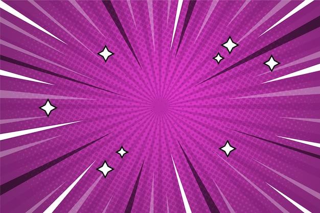 Fundo de estilo cômico de cor violeta e estrelas