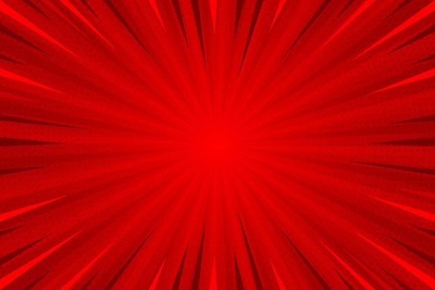 Fundo de estilo cômico vermelho de design plano