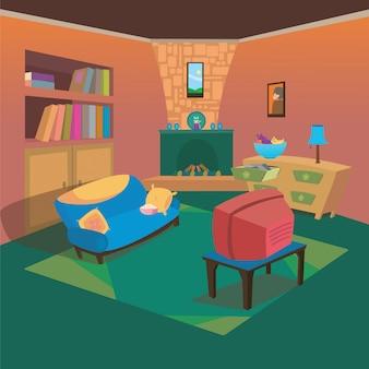 Fundo de estilo de cartoon de interiores de sala de tv