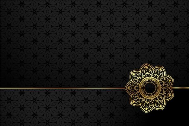 Fundo de estilo de flor decorativa preto e dourado