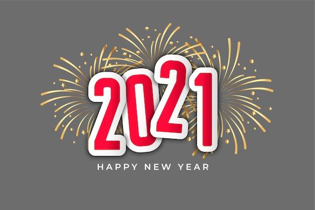Fundo de estilo de fogos de artifício de celebração de ano novo feliz 2021