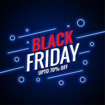 Fundo de estilo de néon preto venda sexta-feira
