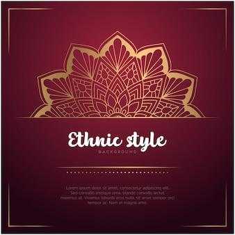 Fundo de estilo étnico com mandala e texto modelo, cor vermelha e dourada