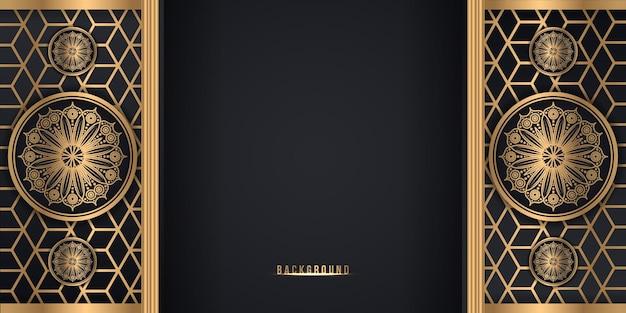 Fundo de estilo flor de mandala decorativo preto e dourado