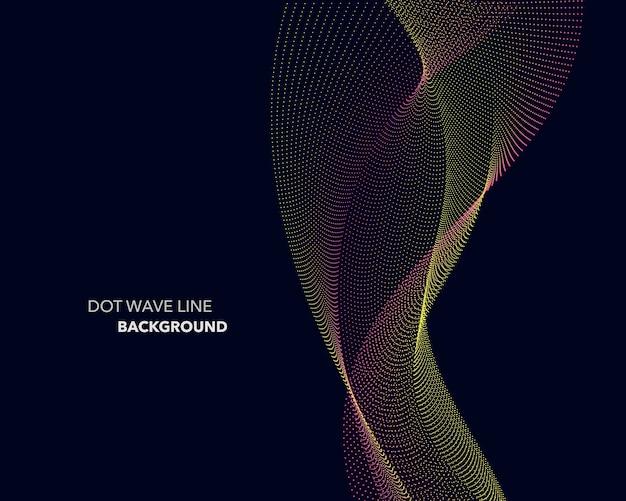Fundo de estilo futurista de linha de onda de ponto abstrato elegante