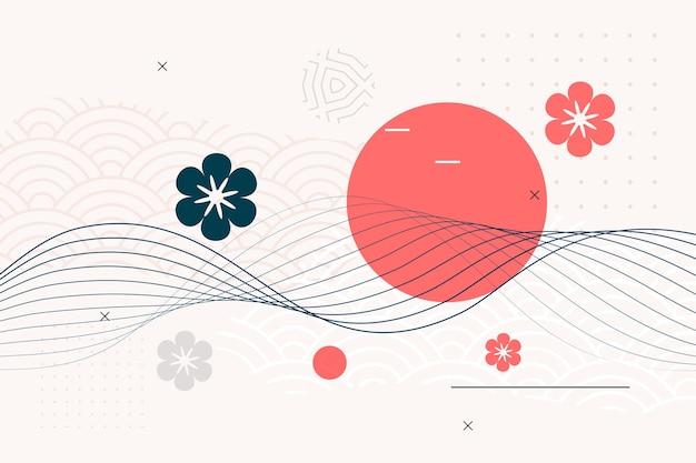 Fundo de estilo japonês com linhas de flores e ondas