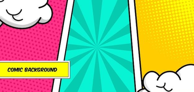 Fundo de estilo pop art de painel de quadrinhos coloridos