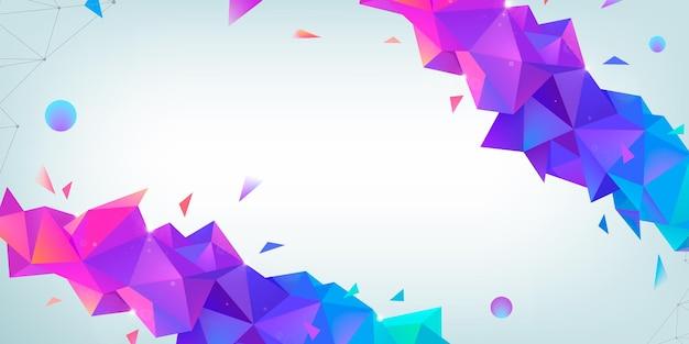 Fundo de estrutura de arame multicolor abstrato de vetor com efeito de plexo. ilustração geométrica 3d futurista. cabeçalho do site, design do banner. estilo moderno triangular. conexão de rede global.