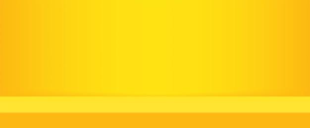 Fundo de estúdio amarelo vívido moderno vazio para produto de exibição de espaço de cópia