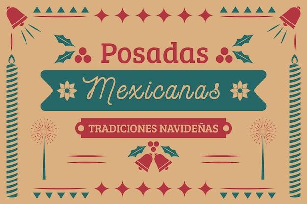 Fundo de etiqueta mexicana de posadas vintage