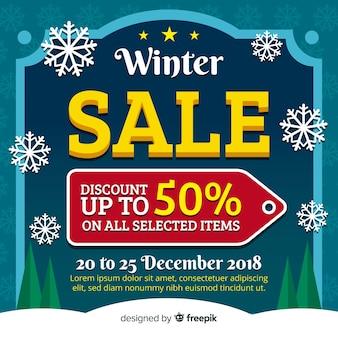 Fundo de etiqueta plana de venda de inverno