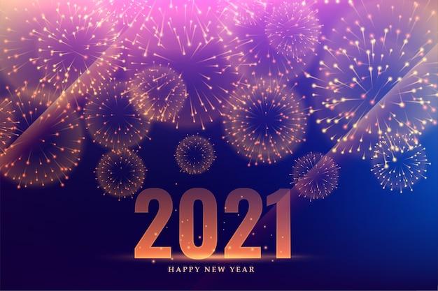Fundo de evento de celebração de fogos de artifício de feliz ano novo de 2021