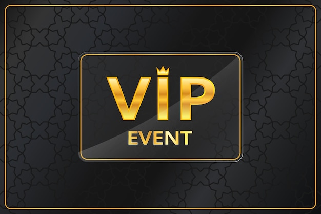 Fundo de evento vip com texto dourado brilhante com coroa e moldura em preto padrão árabe. banner premium e luxo ou design de modelo de convite. ilustração vetorial.