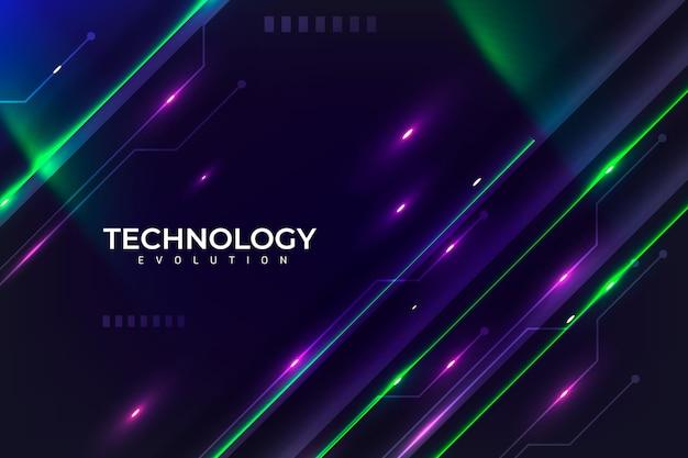 Fundo de evolução de tecnologia de néon