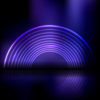 Fundo de exibição abstrato com design de túnel em estilo neon