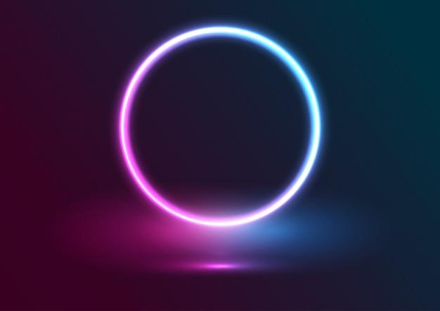 Fundo de exibição de apresentação com desenho de círculo de néon Vetor Premium