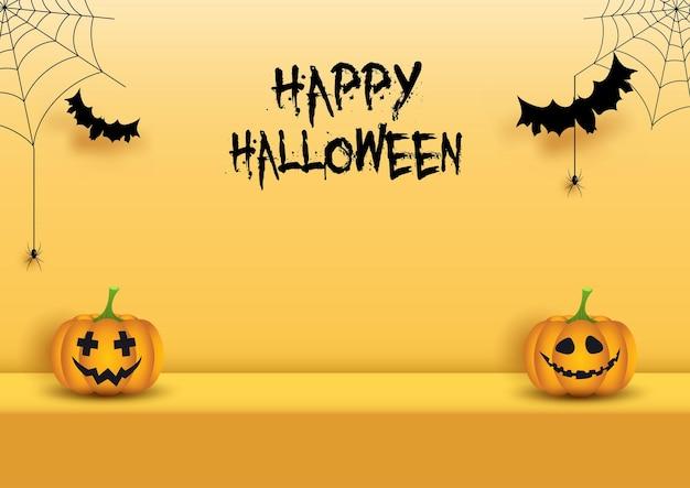 Fundo de exibição de halloween com abóboras, aranhas e morcegos
