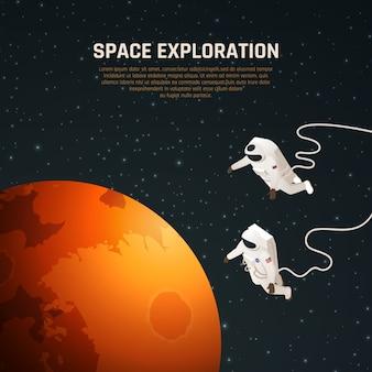 Fundo de exploração espacial com ilustração isométrica de símbolos de pesquisa espacial
