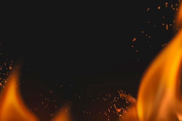 Fundo de faíscas de fogo, borda de chama realista, vetor de espaço de design preto