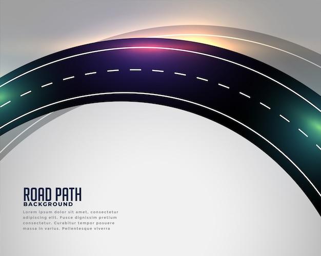 Fundo de faixa de estrada de asfalto curvo