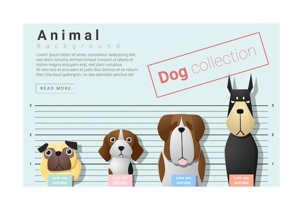 Fundo de família animal bonito com cães