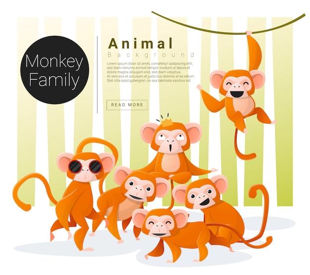 Fundo de família animal bonito com macacos