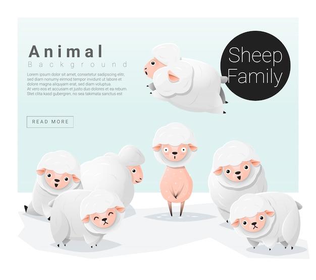 Fundo de família animal bonito com ovelhas