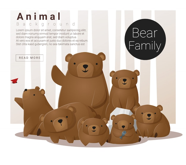 Fundo de família animal bonito com ursos