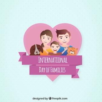 Fundo de família com um filho e animais de estimação