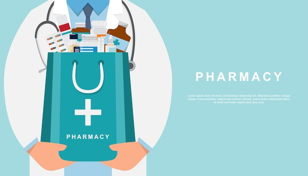 Fundo de farmácia com médico segurando um saco de remédio