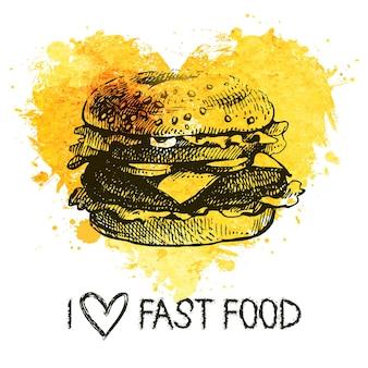 Fundo de fast-food com respingo de coração em aquarela. ilustração do esboço desenhado de mão. design do menu