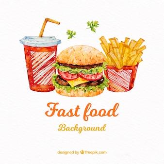 Fundo de fast-food de aquarela