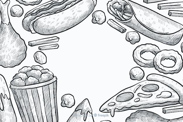 Fundo de fast-food de mão desenhada
