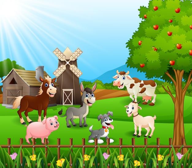 Fundo de fazenda com animais felizes