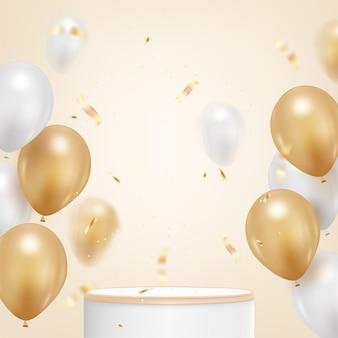 Fundo de feliz aniversário com balão realista e confete dourado