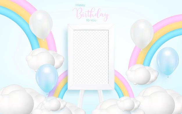 Fundo de feliz aniversário com balão realista