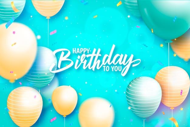 Fundo de feliz aniversário com balões azuis e amarelos pastel
