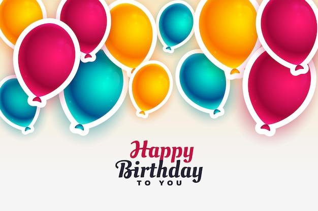 Fundo de feliz aniversário com balões coloridos