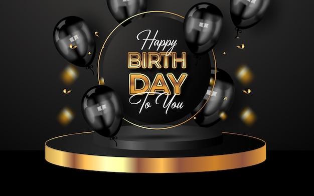 Fundo de feliz aniversário com balões de luxo e confetes