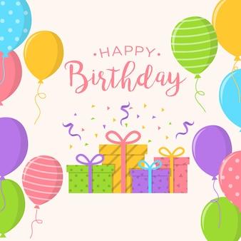 Fundo de feliz aniversário com balões e caixa de presentes