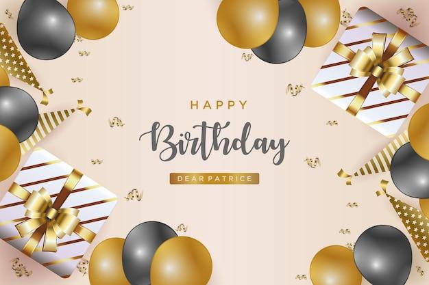 Fundo de feliz aniversário com balões e caixas de presente de fita dourada